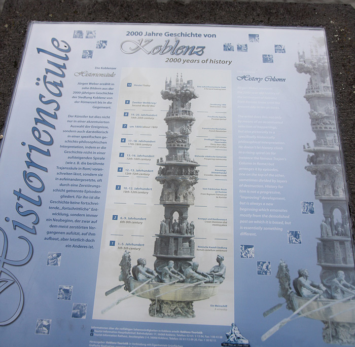 """Кобленц. Табличка, закрепленная на тумбе возле фонтана """"2000 лет истории"""" - Татьяна Гладченко, 2012"""