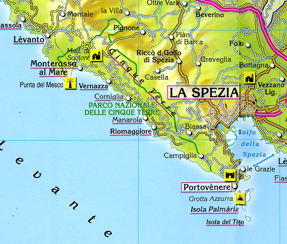 Карта Чинкве Терре (Cinque Terre)