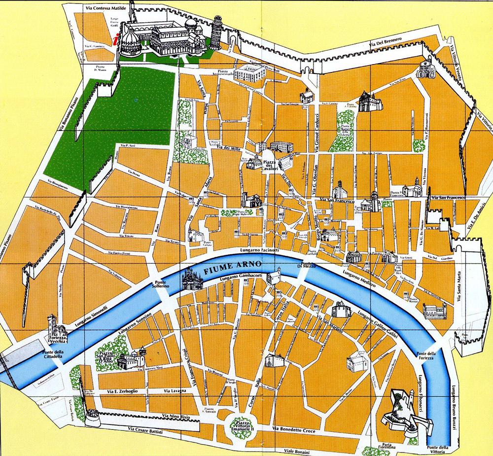 Карта Пизы
