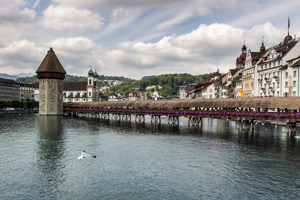 Мост Каппельбрюке в Люцерне (Kappelbrücke) © Татьяна Гладченко, 2014