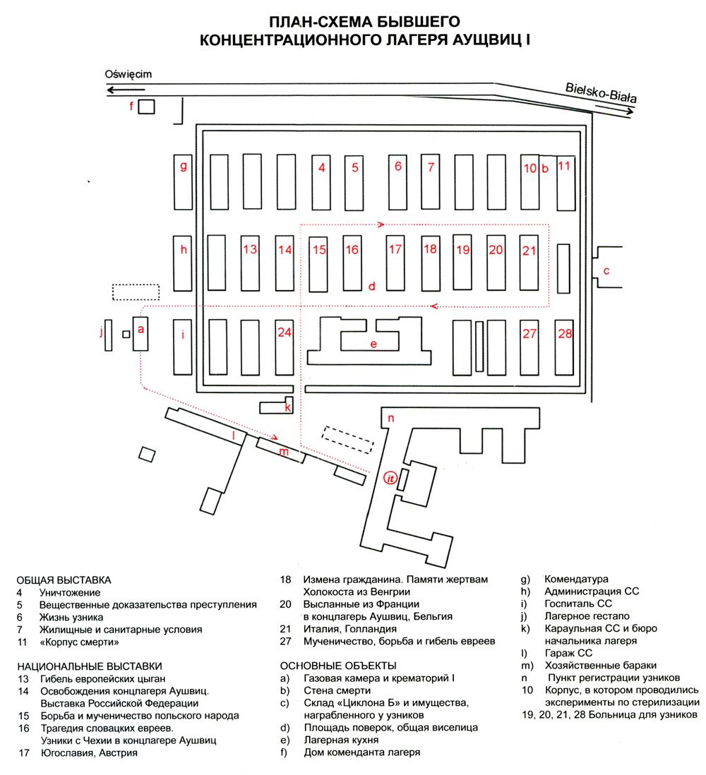 План-схема концентрационного лагеря Аушвиц I