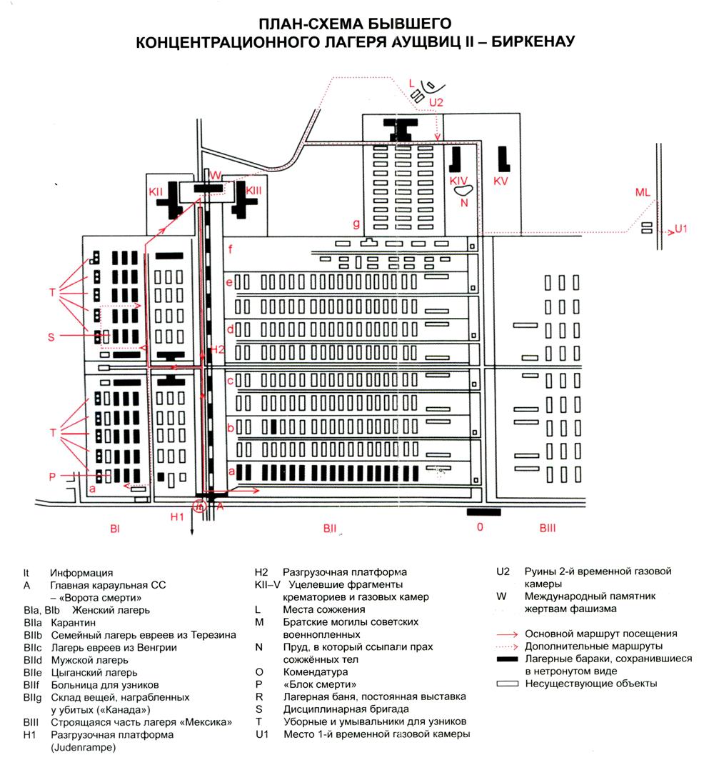 План-схема концентрационного лагеря Аушвиц II — Биркенау