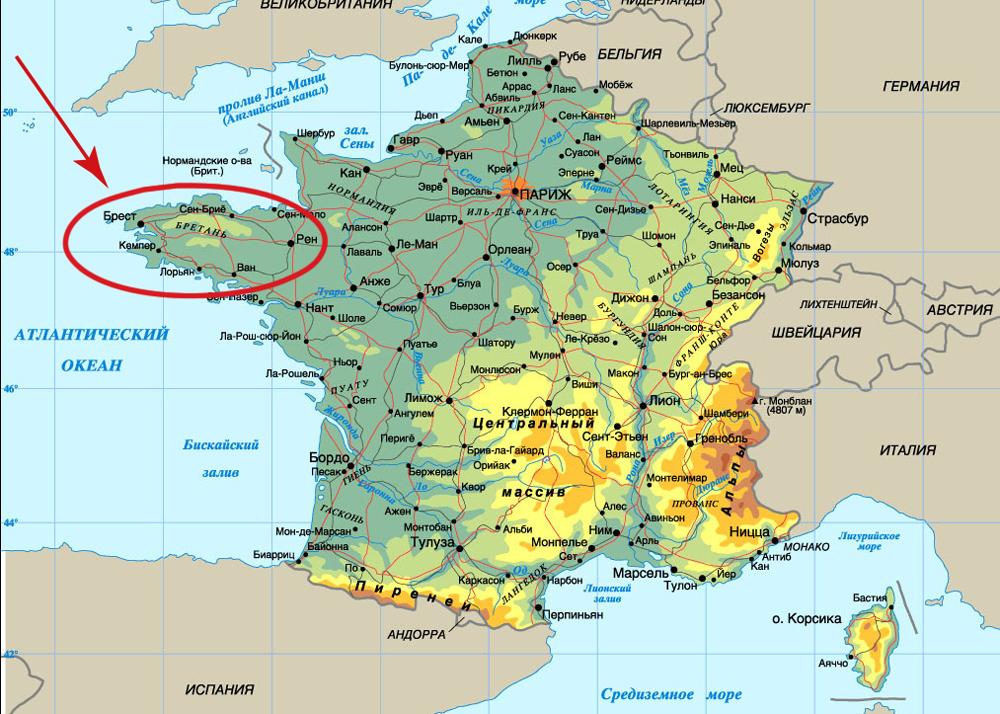 Бретань на карте Франции