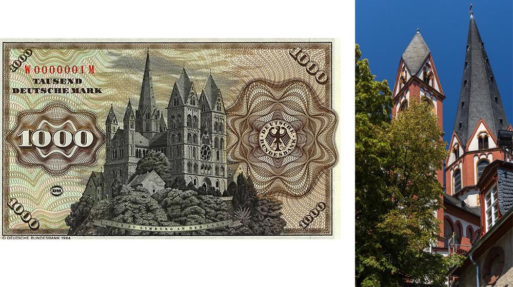 Лимбургский собор (Limburger Dom) на купюре в 1000 марок © Татьяна Гладченко, 2015